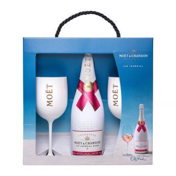 Moet & Chandon Ice Imperial Rose Geschenkpackung mit 2 Flutes 75cl