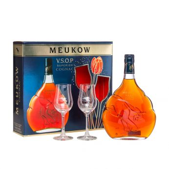 Meukow VSOP Cognac Geschenkpackung mit 2 Gläsern 70cl