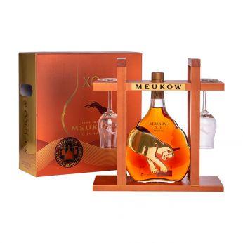 Meukow XO Cognac Geschenkpackung Holzgestell mit 2 Gläsern 70cl