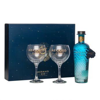 Mermaid Gin Isle of Wight Small Batch Gin Geschenkpackung mit 2 Gläsern 70cl