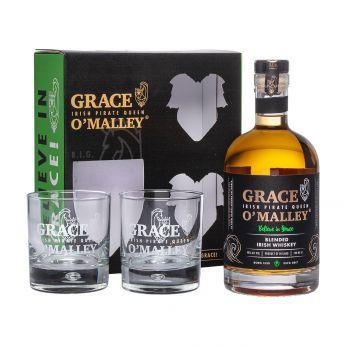 Grace O'Malley Blended Irish Whiskey Geschenkpackung mit 2 Gläsern 70cl