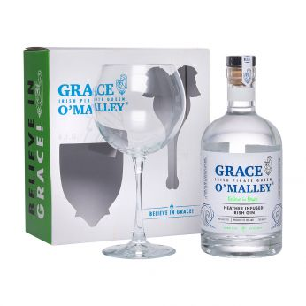 Grace O'Malley Heather Infused Irish Gin Geschenkpackung mit Glas 70cl