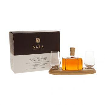 Whisky Barrel Dekanter mit 2 Gläsern The Alba Collection 20cl