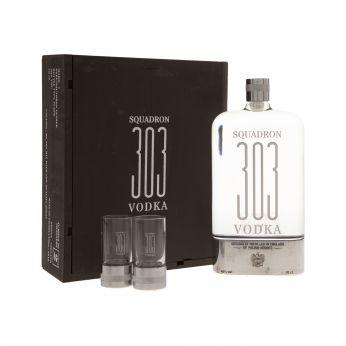 Squadron 303 Vodka Geschenkpackung mit 2 Shotgläsern 70cl