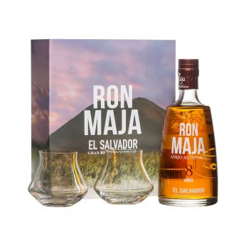 Maja 8 anos Anejo Autentico Rum Geschenkpackung mit 2 Gläsern 70cl