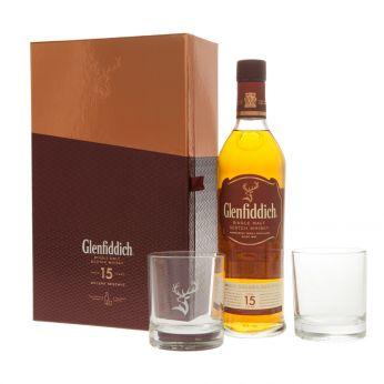 Glenfiddich 15y Geschenkpackung mit 2 Gläsern 70cl