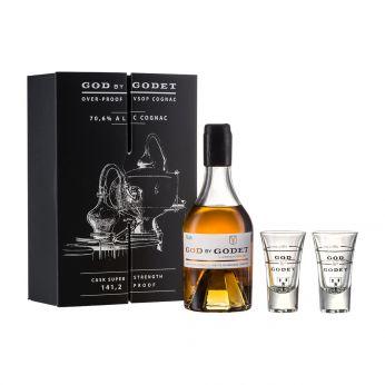 Godet God by Godet over-proof VSOP Cognac Geschenkpackung mit 2 Gläsern 35cl