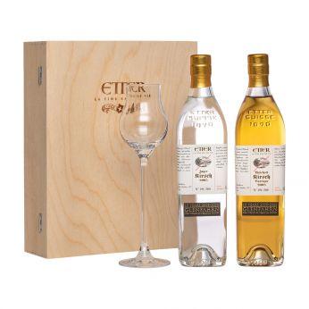 Etter Jahrgangs-Kirsch Set mit Glas Glen Fahrn 15th Anniversary Bottling 2x35cl