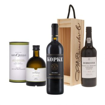 Portugal Genuss-Set Burmester Vintage Port, Kopke Reserva Tinto, Bio-Olivenöl 75+75+50cl