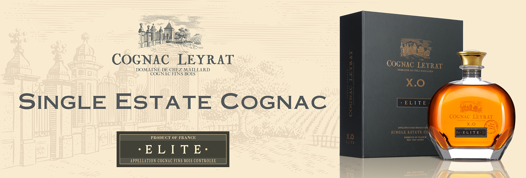 Leyrat XO Elite Cognac in Dekanter Abecassis Single Estate Premium Cognac