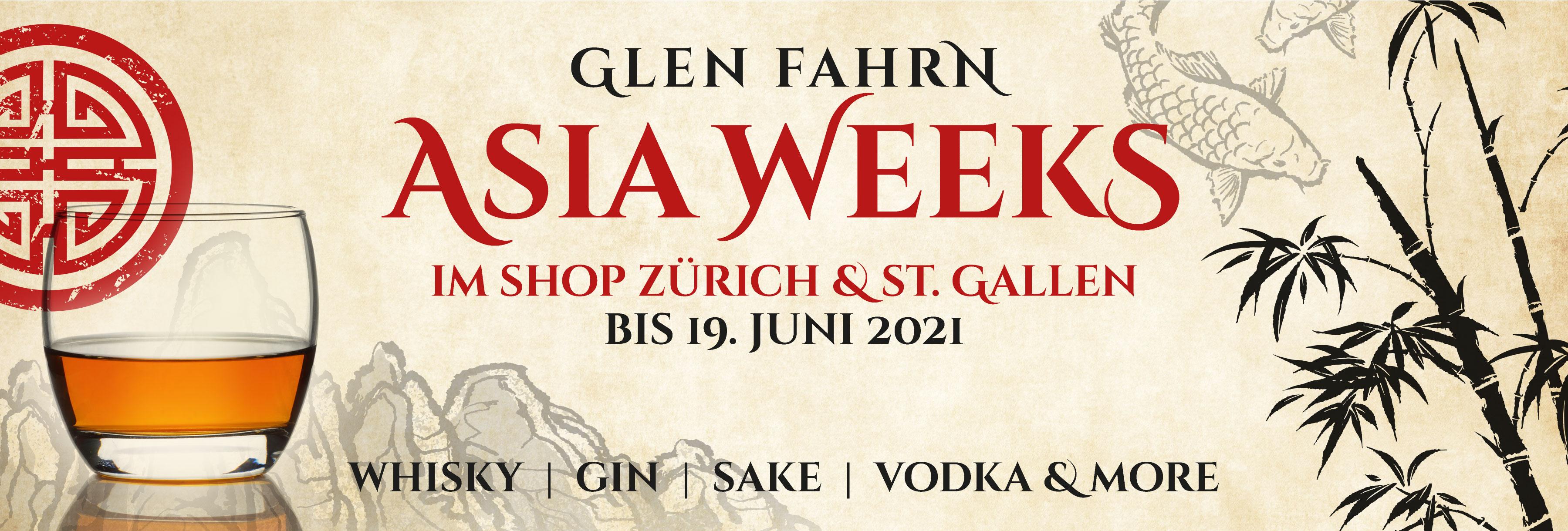 Asia Weeks Shop St.Gallen und Zürich 2021 Glen Fahrn Whisky Gin Vodka Rum Sake Raritäten Asiatische Spezialitäten
