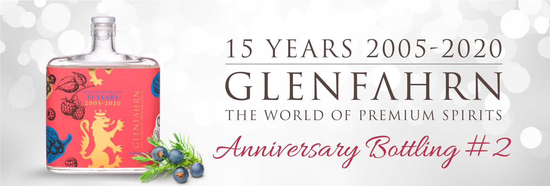 Glen fahrn 15 anniversary bottling berry gin nginious