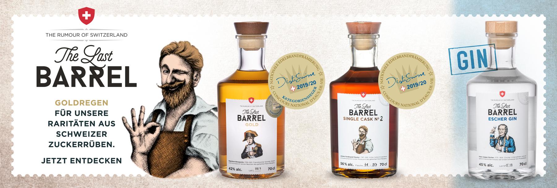 The Last Barrel Zuckerrüben Bester Rum der Schweiz Gold Single Cask