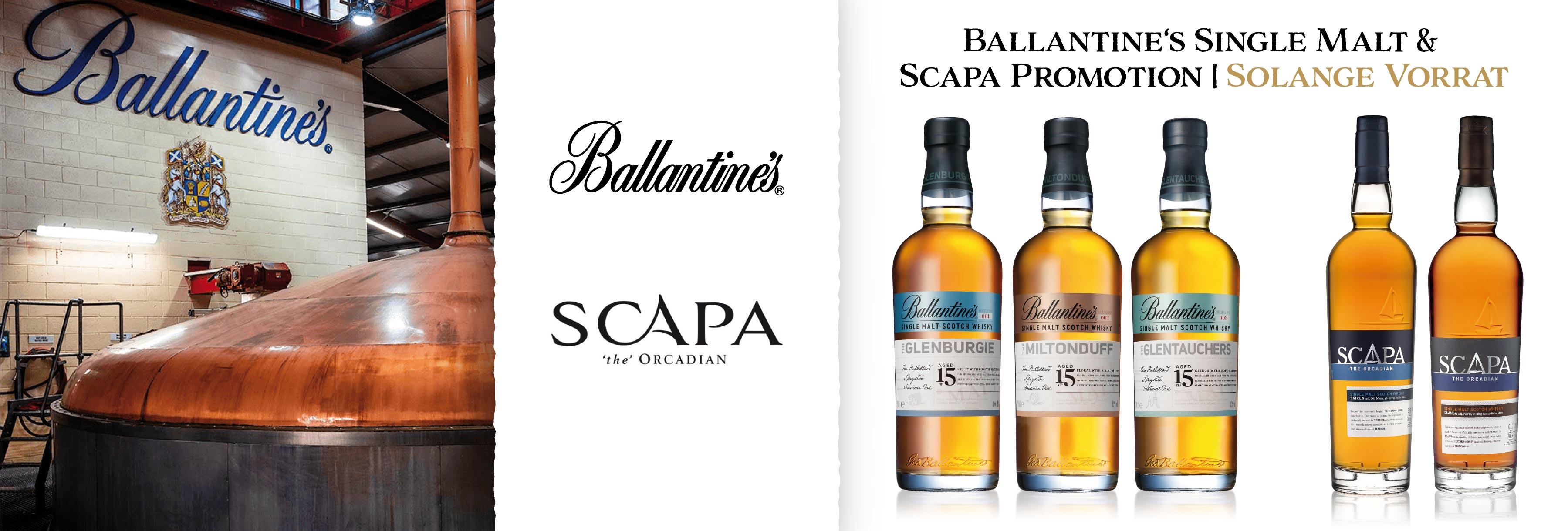 Scapa Skiren Glansa Ballentine's Single Malt Glentauchers Glenburgie Miltonduff Promotion Glen Fahrn Whisky günstig letzte Flaschen ihrer Art