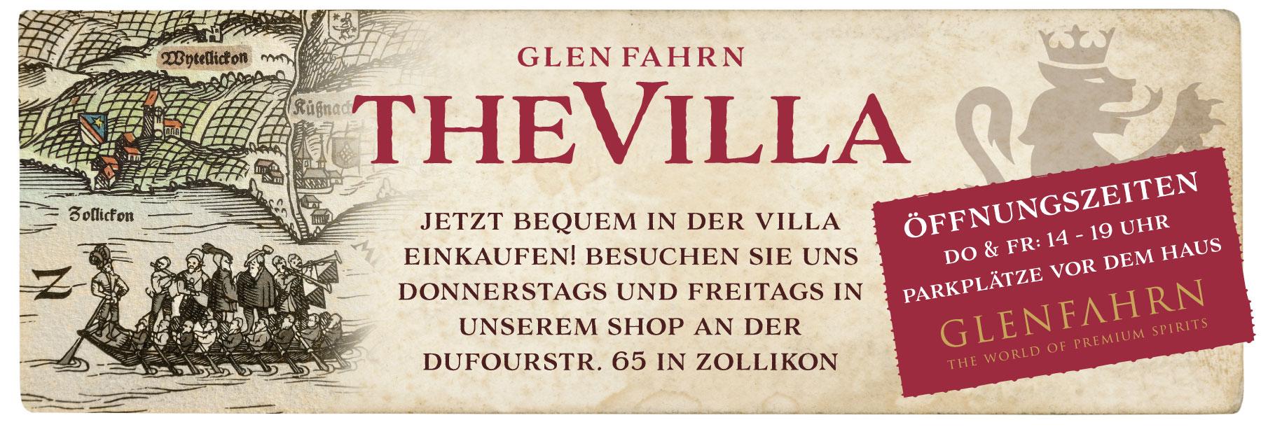 Glen Fahrn the villa Eröffnung Whisky Raritäten Spirituosen Weine Port Schaumweine Events